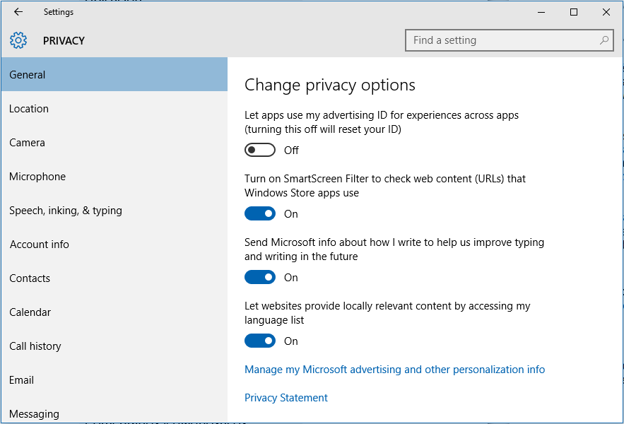 Set Privacy in Windows 10