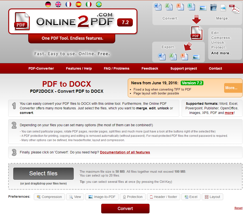 Convert PDF in Word
